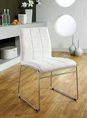 Oahu White Leatherette Side Chair Set of 2