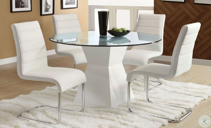 Mauna White Glass Top Round Dining Room Set From Furniture Of America Cm8371wh T Table Coleman Furniture