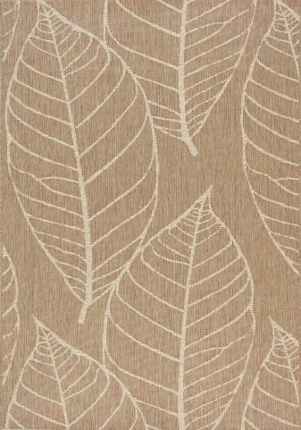Coast Brown/Cream Fossil Leaves Flatweave Large Rug