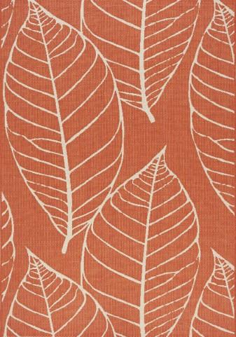 Coast Red/Cream Fossil Leaves Flatweave  Large Rug