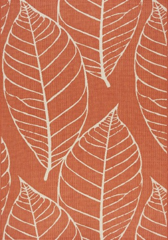 Coast Red/Cream Fossil Leaves Flatweave  Small Rug