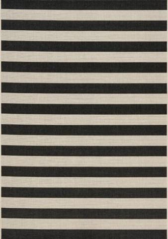 Coast Black and Cream Stripes Flatweave Medium Rug