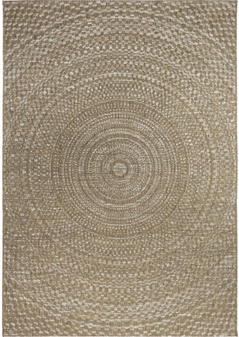 Breeze Indoor/Outdoor Circles Cerulean Gray and Brown Small Area Rug