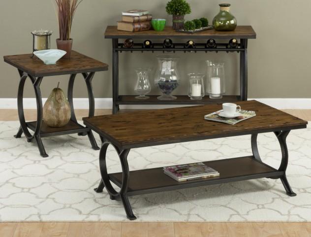 Harper's Press Dark Rustic Pine Occasional Table Set