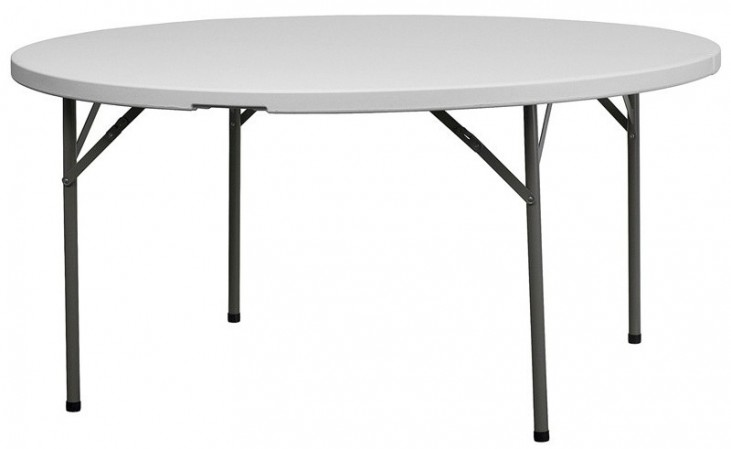 60'' Granite White Round Plastic Folding Table