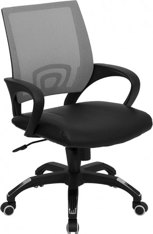Mid-Back Gray Computer Chair with Black Seat