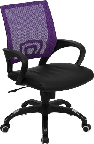 Mid-Back Purple Computer Chair with Black Seat
