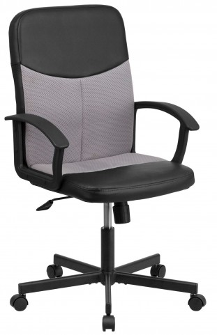 Mid-Back Black Vinyl Task Chair with Light Gray Inserts