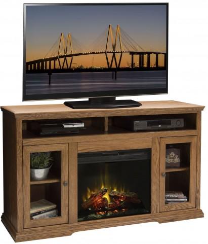 "Colonial Place Golden Oak 59"" Fireplace Console"