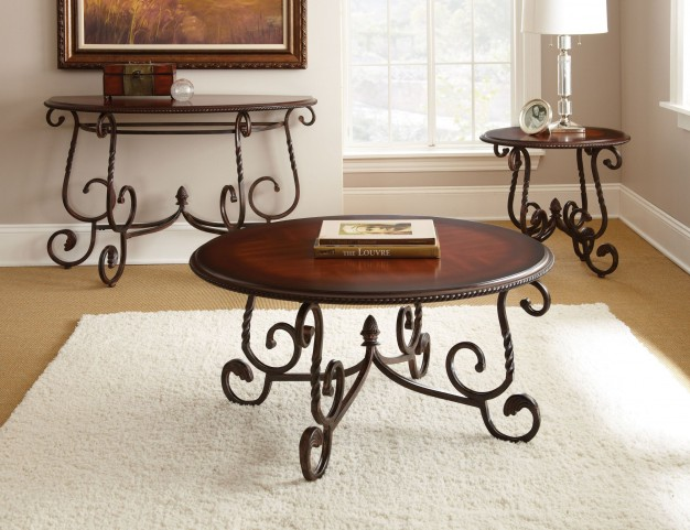 Crowley Dark Cherry Occasional Table Set