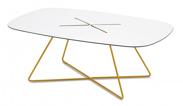 Cross Mustard Rising Lacquered Steel Rectangular Coffee Table