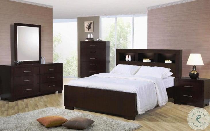 Jessica Cappuccino Bookcase Bedroom Set