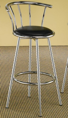 Soda Fountain Barstool with Black Cushion and Back Support Set of 2