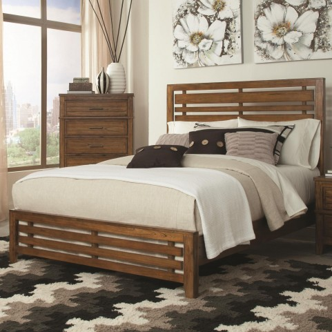 Cupertino Antique Amber Queen Panel Bed