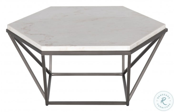 Corvus White And Coffee White Marble Top Cocktail Table