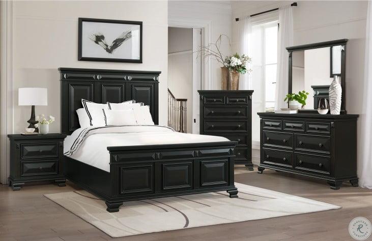 Trent Antique Black Panel Bedroom Set