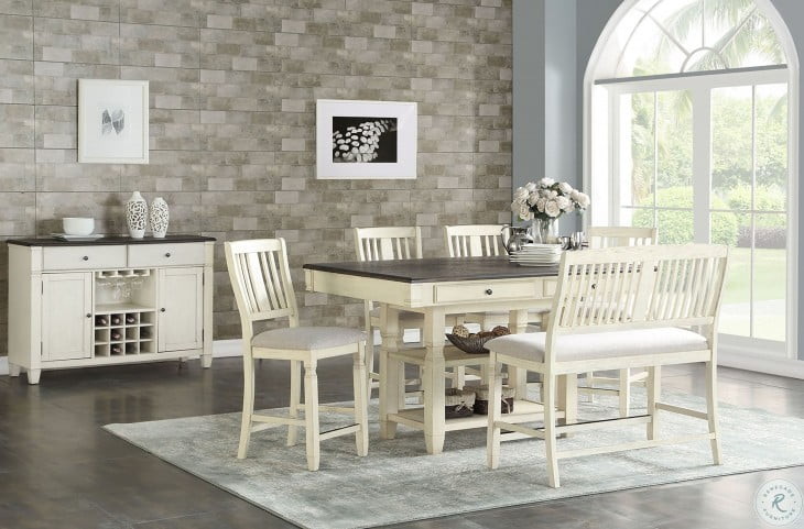 Homeplace Dark Oak And White Counter Chair Set Of 2