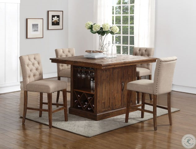 Normandy Sawn Distressed Counter Height Dining Room Set