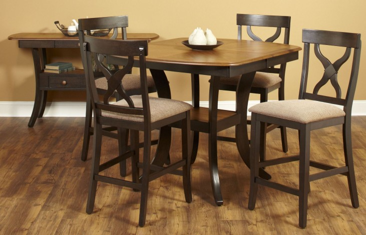 Bungalow Brown Extendable Rectangular Counter Height Dining Room Set