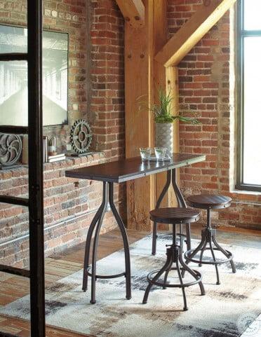 Odium Rustic Brown Rectangular Adjustable Counter Height Dining Room Set