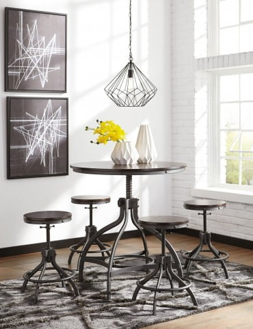 Odium Brown 5 Piece Adjustable Counter Height Dining Room Set