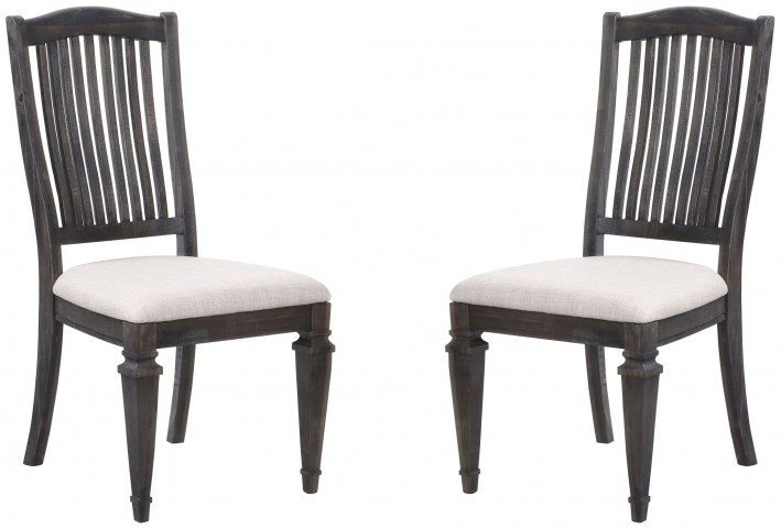 Sutton Place Weathered Charcoal Upholstered Side Chair Set of 2