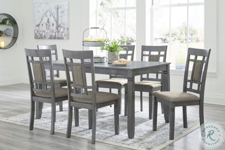 Jayemyer Charcoal Gray 7 Piece Rectangular Table Set