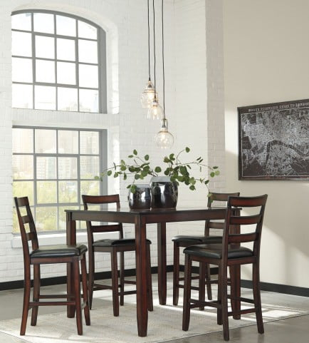 fe356414a8da2c Coviar Brown 5 Piece Counter Height Dining Room Set from Ashley | Coleman  Furniture