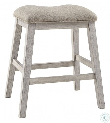 Skempton White And Light Brown Counter Height Bar Stool Set Of 2