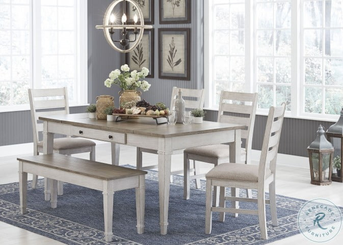 Skempton White and Light Brown Storage Dining Room Set