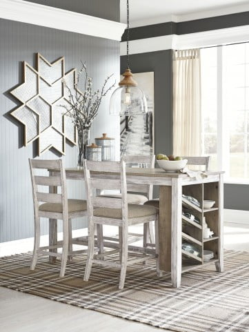 Skempton White and Light Brown Counter Height Dining Room Set
