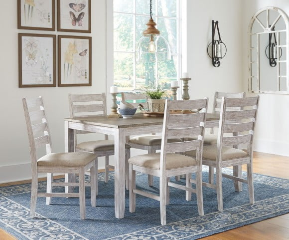 Skempton White and Light Brown Dining Room Set