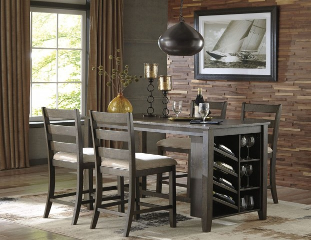 rokane light brown rectangular counter height dining room set from ashley coleman furniture. Black Bedroom Furniture Sets. Home Design Ideas