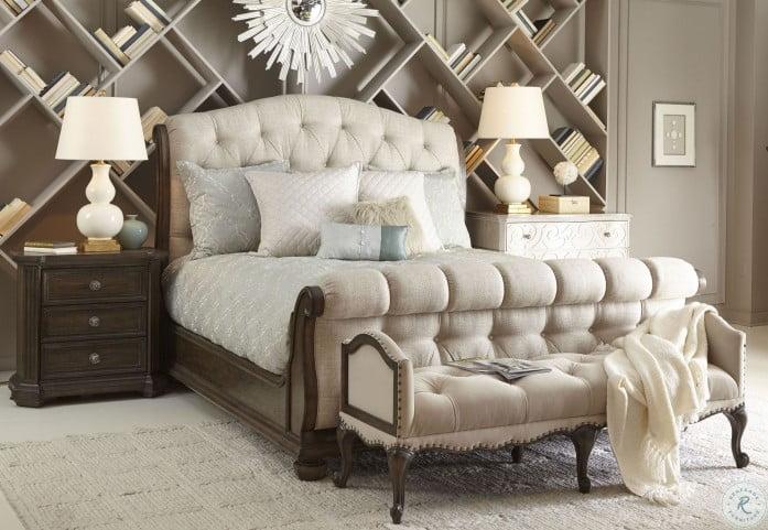 Vintage Salvage Walnut Lanza Upholstered Bedroom Set