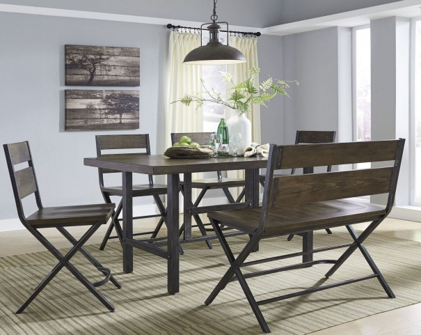 Kavara Medium Brown Rectangular Counter Dining Room Set