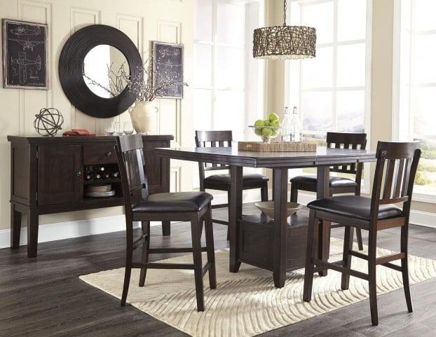 Amazing Haddigan Dark Brown Rectangular Extendable Counter Height Dining Room Set Download Free Architecture Designs Sospemadebymaigaardcom