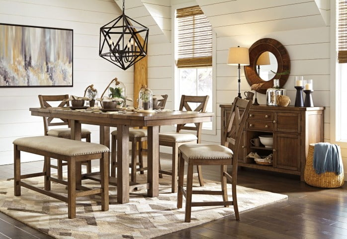 Remarkable Moriville Grayish Brown Extendable Counter Height Dining Room Set Gmtry Best Dining Table And Chair Ideas Images Gmtryco