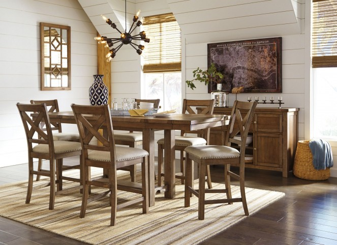 Moriville Gray Extendable Counter Height Dining Room Set