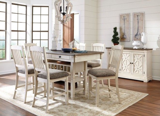 Bolanburg White and Gray Rectangular Counter Height Dining Room Set ...