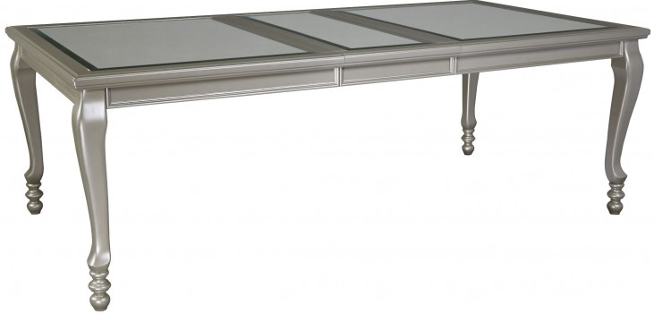 Coralayne Silver Rectangular Dining Room Extendable Dining Table