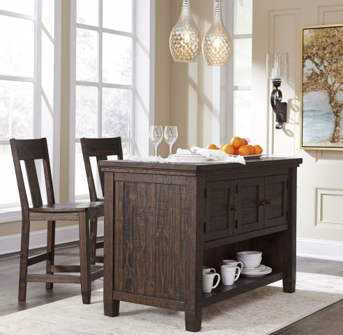 Trudell Dark Brown Rectangular Storage Counter Height Dining Room Set