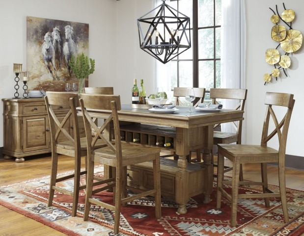 Trishley Light Brown Rectangular Storage Counter Height Dining Room Set
