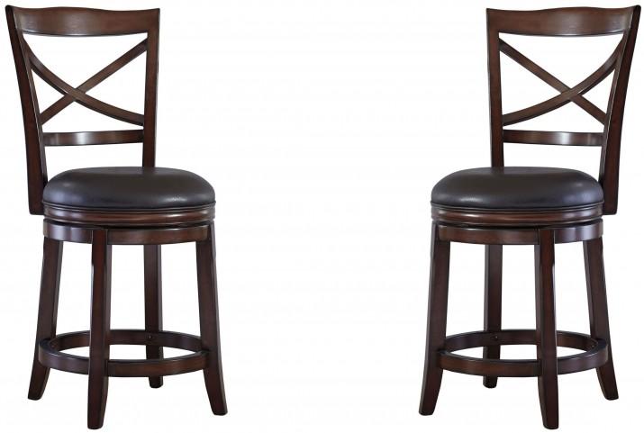 Porter Rustic Brown Upholstered Swivel Barstool Set of 2