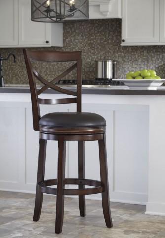 Porter Rustic Brown Tall Upholstered Swivel Barstool Set of 2