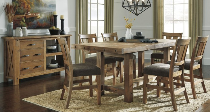 Tamilo Grayish Brown Rectangular Extendable Counter Height Dining Room Set
