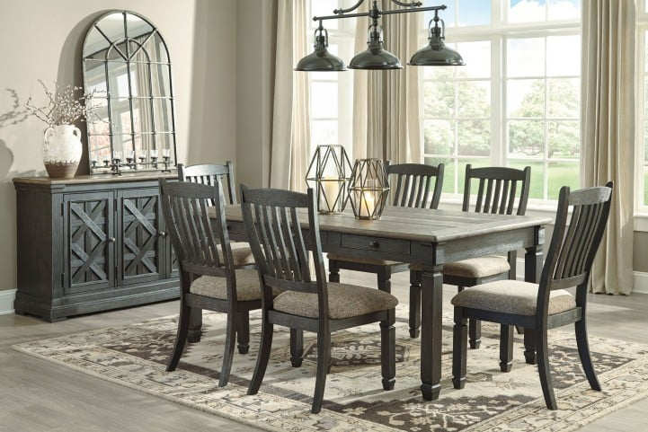 Tyler Creek Black and Gray Rectangular Dining Room Set