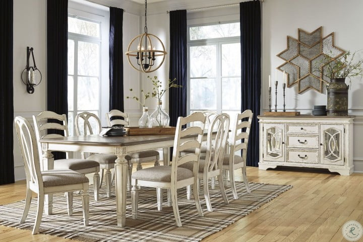 Realyn Chipped White Extendable Rectangular Dining Room Set From Ashley Coleman Furniture