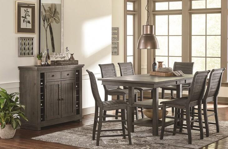 Willow Distressed Dark Gray Rectangular Counter Height Dining Room Set