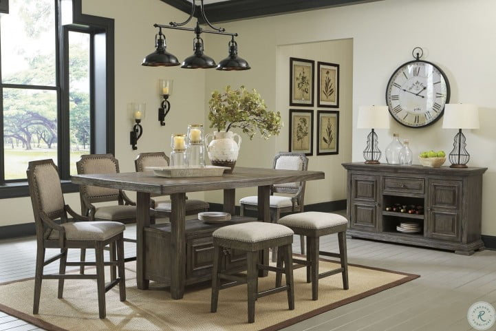 Wyndahl Rustic Brown Counter Height Dining Room Set From Ashley Homegallerystore Com D813 32
