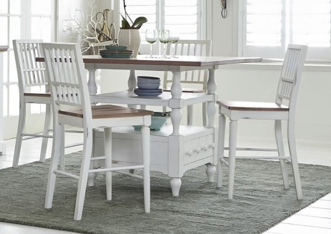 Shutters Light Oak And Distressed White Counter Height Dining Table From Progressive Furniture Coleman Furniture